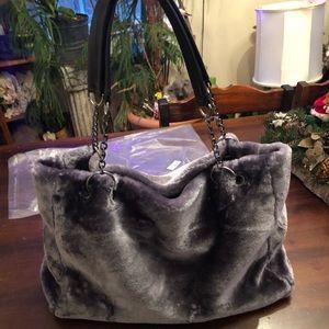 Womens Large Grey Faux Fur Purse. NEW